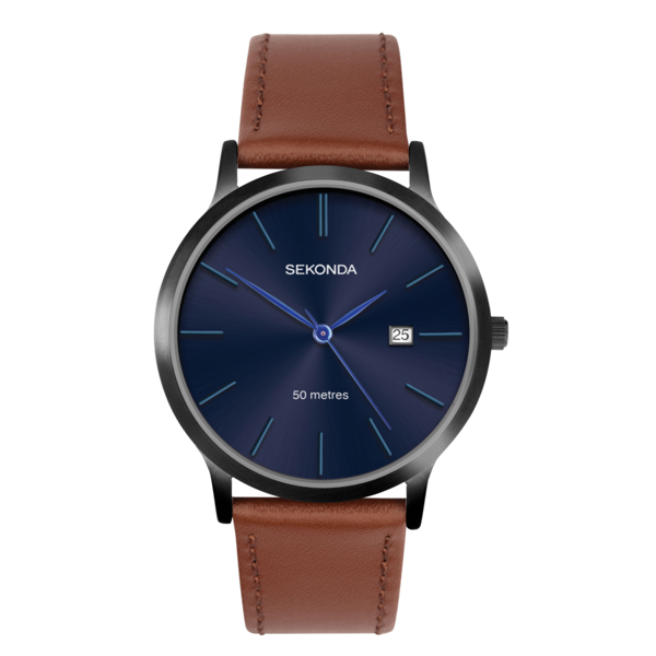 Image sur Gent's Watch with  Blue Dial and Tan Strap